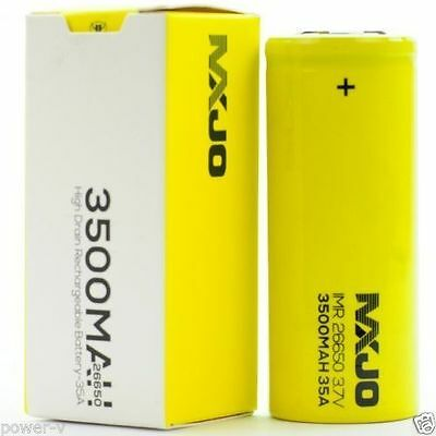 2 Authentic MXJO 3500mAh 35A IMR 26650 3.7V High Drain Flat Top Battery