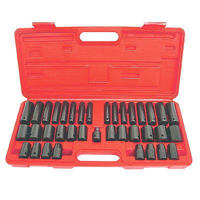 38pc GRIP 3/8 & 1/2 SAE Metric 6pt Impact Sockets Set Shallow Deep INCH MM 73600