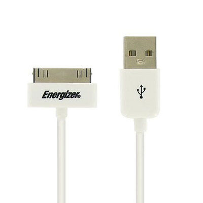 NEW ENERGIZER USB TO 30 PIN IPHONE 4 CHARGE AND SYNC CABLE WHITE LCHEHUSBSYIP2