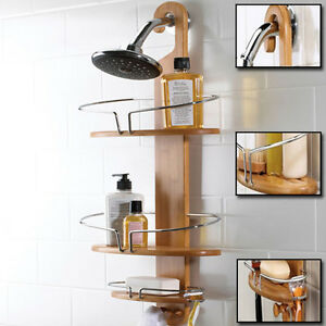 NEW Bamboo Shower Caddy Stainless Steel with Hang Hook Shower Organiser