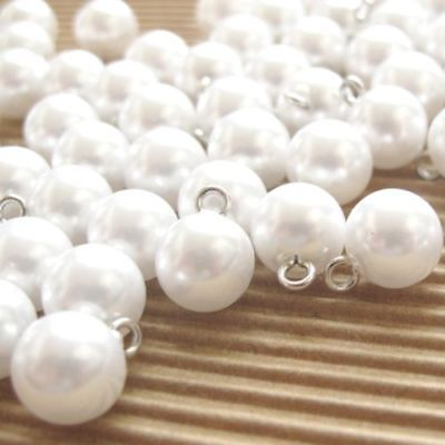 Faux/Plastic Pearl White Round/Ball Buttons for Wedding Costume Princess SB478 Bridal White Faux Pearl
