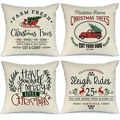 "AENEY Farmhouse Christmas Pillow Covers 18x18 inch Set of 4 18"" x 18"", Multi"