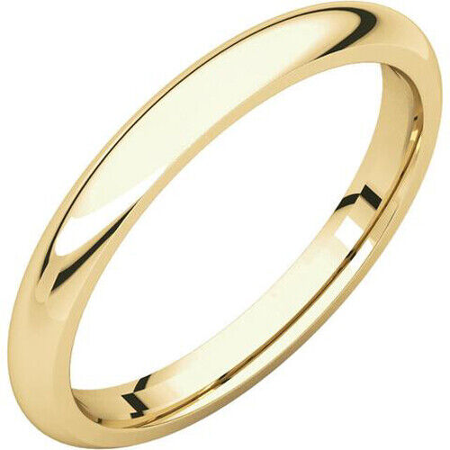 2.5mm 18K Solid Yellow Gold Plain Dome Half Round Comfort Fit Wedding Band Ring