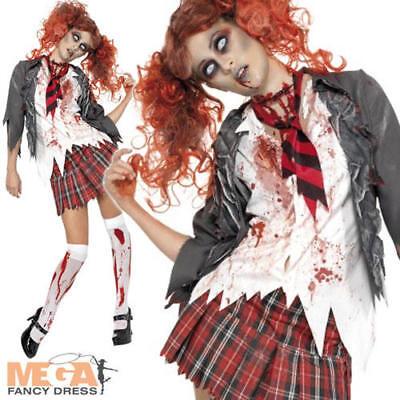 Zombie High School Girl + Wig Ladies Fancy Dress Halloween Horror Adults Costume