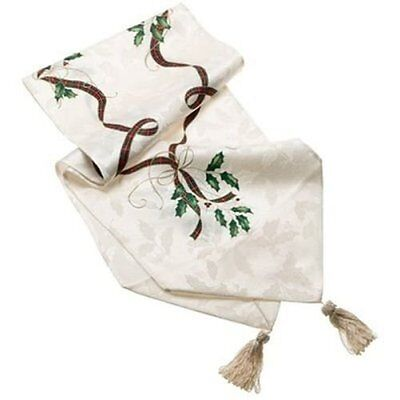"""LENOX Holiday Nouveau Table Runner W/Tassels Holiday Table Runner 14"""" x 90"""" New"""