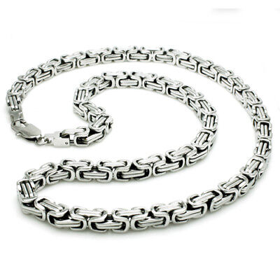 Stainless Steel Imperial Byzantine Box Mens Chain Necklace 24