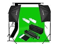 Studio Continuous Lighting Kit Softbox Kit Background Set - Unused