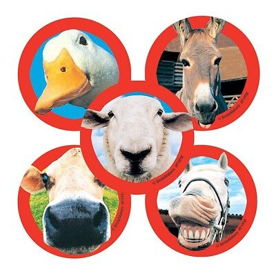 25 Funny Farm Animal Stickers, 2.5