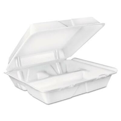 Dart 90ht3r Food Carryout Container 3-compartment White Foam 9.4 X 9x3 200bx