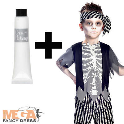 Zombie Pirate Boys Fancy Dress Halloween Kids Costume + White Face Paint Make Up (Kids Pirate Makeup Halloween)