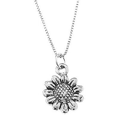 STERLING SILVER SMALL WILD SUNFLOWER CHARM WITH BOX CHAIN NECKLACE (Sunflower Charm)