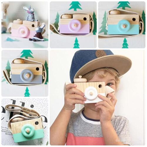 Kids Cute Wood Camera Toy Xmas Children Room Decor Natural S