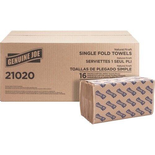 Genuine Joe Single-Fold Natural Paper Towels, 4,000 Towels (GJO21020)