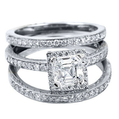 2.18 Ct Asscher Cut Halo Diamond Ring Set with Two Matching band  GIA I, VVS1
