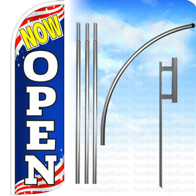 Now Open - Windless Swooper Feather Flag 15 Kit Banner Sign - Patriotic Bq
