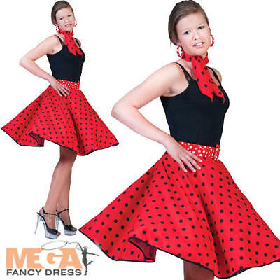 50s Red Rock n Roll Bopper Skirt Fancy Dress Costume 1950s Fifties Ladies Outfit