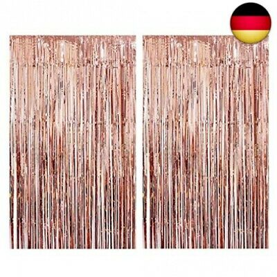 Tumao Rose Gold Metallic Tinsel Vorhänge, 2 Stück Folie Fringe Shimmer Vorhan...