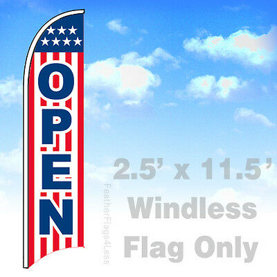 Open - Windless Swooper Flag 2.5x11.5 Feather Banner Sign - Stars Stripe Rb