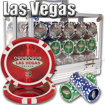 New 600 Las Vegas 14g Clay Poker Chips Set with Acrylic Case - Pick Chips!