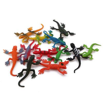12pcs Simulation Lizard Model Realistic Rubber Reptile Animal Figures Kids Toy Q