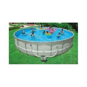 Large round swimming pool intex 22 039 x 52 034 ultra for Intex pool handler
