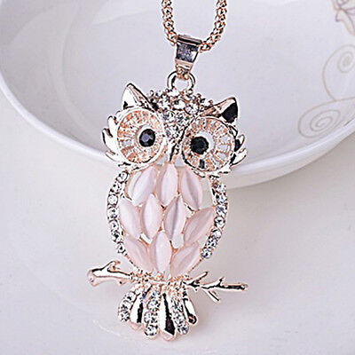 Jewellery - QA_ Cute Womens Jewelry Crystal Rhinestone Owl Pendant Necklace Sweater Chain