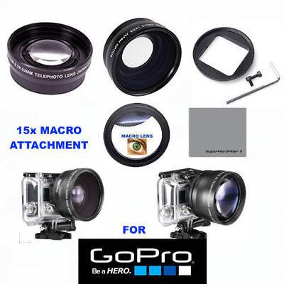 GOPRO HERO 5 Inky WIDE ANGLE LENS+TELEPHOTO ZOOM LENS + 15X MACRO LENS ADAPTOR