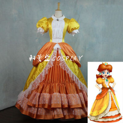 Super Mario Princess Daisy Costume Sisters Adult Women Cosplay Dress