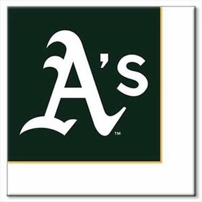 MLB OAKLAND A'S LUNCH NAPKINS (24) ~ Baseball Birthday Party Supplies Serviettes