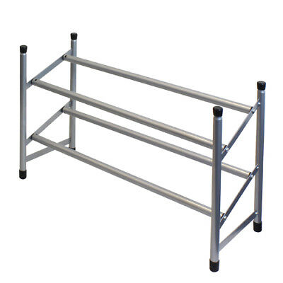JVL Two Tier Stackable and Extendable Shoe Rack Storage Organiser, Grey