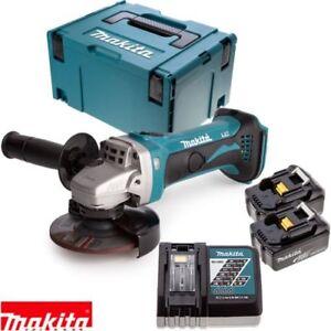 Makita-DGA452Z-18v-115mm-Smerigliatrice-Angolare-2-BATTERIE-4Ah-caricabatterie-Case-amp-Inlay
