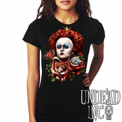 Alice In Wonderland Queen Of Hearts Tim Burton Red Queen Ladies T Shirt Tee Top