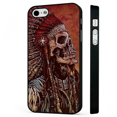 Indian Native American Skull Skeleton Tribal BLACK PHONE CASE COVER fits iPHONE Native American Indian Cover