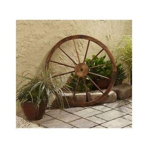 Wooden wagon wheel garden outdoor country rustic decor for Wooden garden decorations