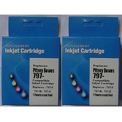 - 2 797-0 797-M Red INK Cartridge for Pitney Bowes K700 K7M0 797Q Mailstation 2 1