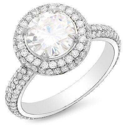 2.01 Ct. Halo Round Brilliant Cut Eternity Diamond Engagement Ring F,VS2 GIA 14K
