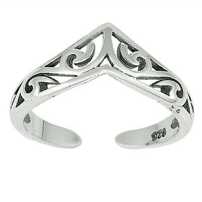 V Shaped Filigree Toe Ring Face Height 6 mm Solid Sterling Silver 925 Jewelry