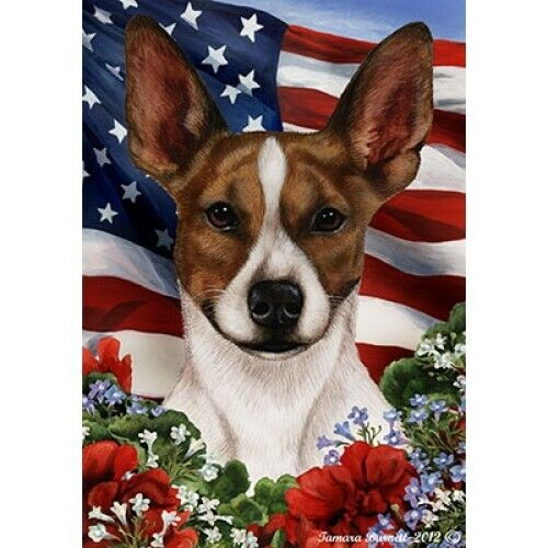 Patriotic (1) House Flag - Brown and White Rat Terrier 16130