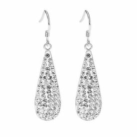 BRAND NEW - TEAR DROP EARRINGS - 18 ct WHITE GOLD - Encrusted with Swarovskie Crystals