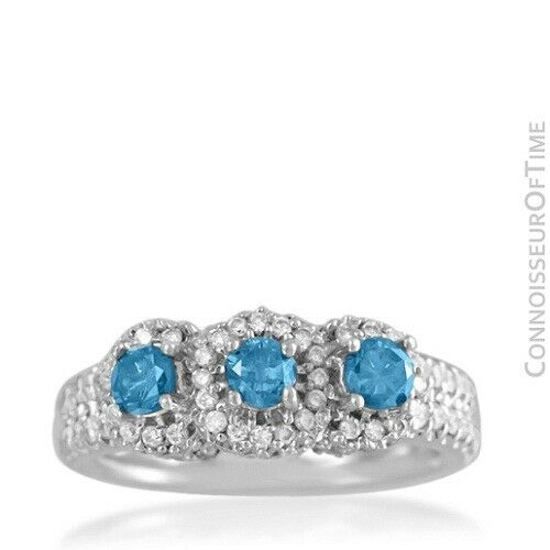 18K White Gold & Blue Diamond 3-Stone Wedding Ring, GIA $3445 - 1.82 Carats TDW