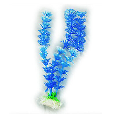 Fish Tank Aquarium Ornament Plants, Pack of 2pcs Blue and White  N3