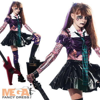 Zombie Girls Punk Rock Halloween Fancy Dress Kids Child Zombet Costume Outfit