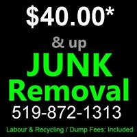 JUNK - TRASH REMOVALS 519-872-1313 ** Lowest rates PERIOD !
