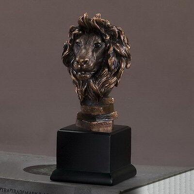 Lion Head 3.75 x 10  Stunning Beautiful Bronze Statue / Sculpture New