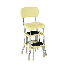 New Vintage Kitchen Retro Chair Bar Step Stool Yellow