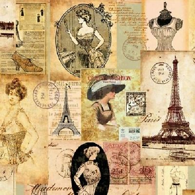 4 x Paper Napkins - Madame a Paris - Ideal for Decoupage / Napkin Art