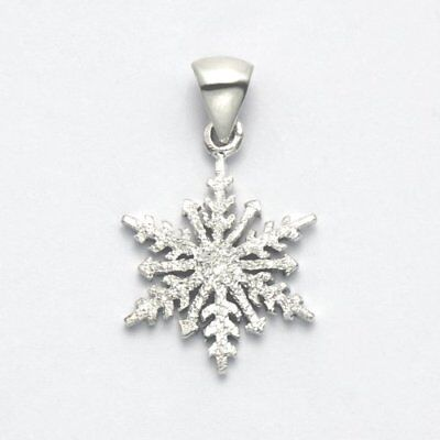 Sterling Silver Frosted Finish Snowflake Pendant - SPD314 Frost Finish Pendants