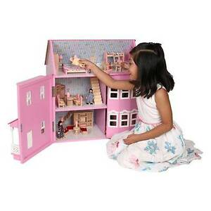 Mamakiddies Victorian Pink Wooden Dolls Doll House w/ Furnitures Auburn Auburn Area Preview