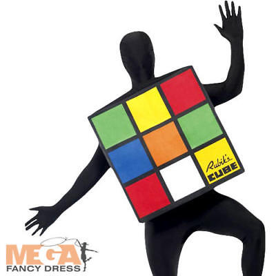 Halloween Costume Rubik's Cube (Rubik's Cube Fancy Dress 1980s Costume Unisex Mens Ladies 80s Game Outfit New)