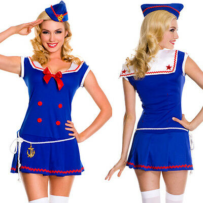 Sailor Navy Pin Up Vintage Retro Anchor Costume Halloween Mini Dress w/Belt S-XL - Pin Up Halloween Costumes